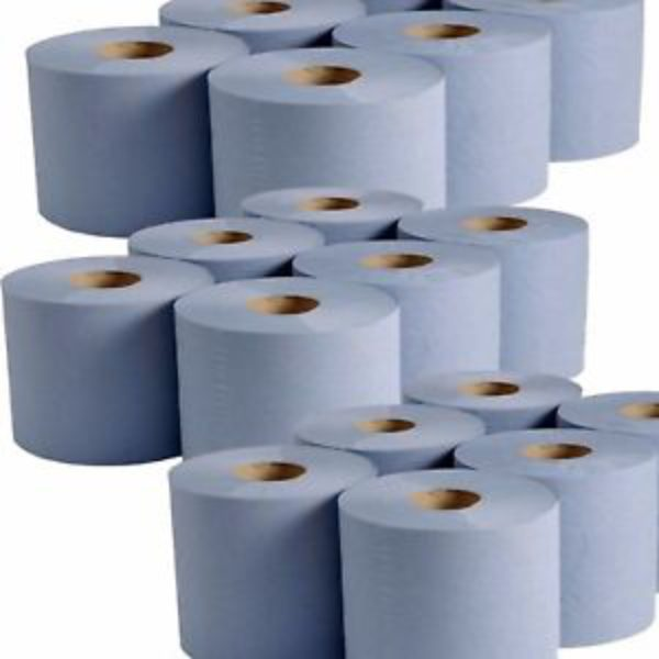 Hand Towel Tissue 1-Pack 6 x Blue Paper Rolls 2 Ply Embossed Centre Feed