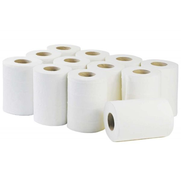White Mini Centre-feed Rolls 120m, 1 ply, Pack of 12