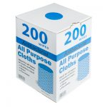 All purpose antibacterial cloths in dispenser