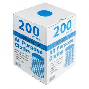 All purpose antibacterial cloths in dispenser