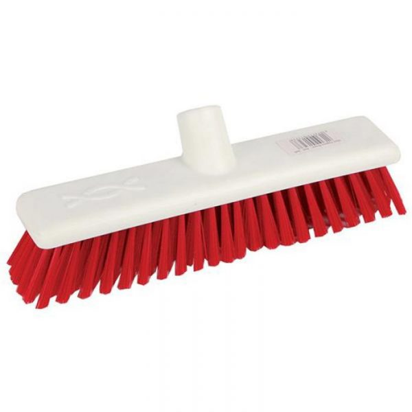 red stiff broom head