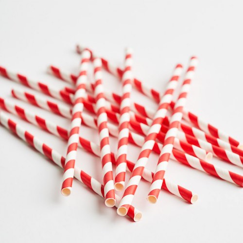 Red and White Paper Straws