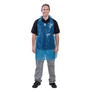 Disposable Polythene Bib Aprons Blue 30 micron