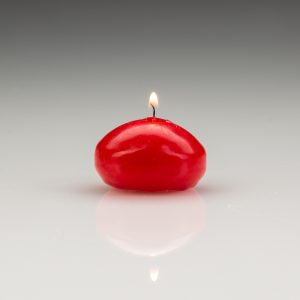 red floating candles